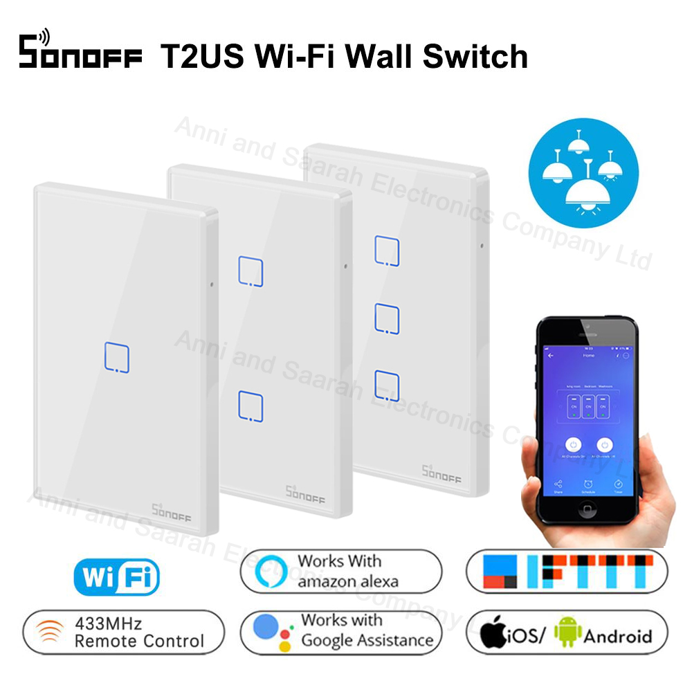 Sonoff T2 WiFi Smart Wall Touch Light Switch US 1 2 3 Gang RF Wireless Remote Light Smart Home Controller Work With Google Home