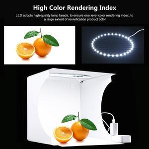 Image 3 - Photo Studio Box 20cm Mini Ring LED Light box folding Lightbox Photography Light Studio Shooting Tent Box Kit  6 Color Backdrops