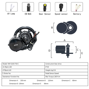 Image 2 - Bafang/8fun BBS02B Kit de Motor de manivela media para bicicleta eléctrica, batería Samsung de 48V750W, MM, G340.750, 10Ah, 14Ah, 17Ah