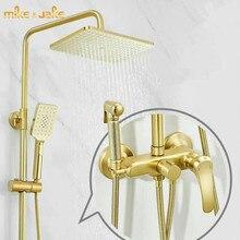 高級ゴールドブラシシャワーセット浴室ゴールドブラシシャワーミキサー高級浴室ブラシゴールド壁シャワーミキサーバスタブホットコールドタップ