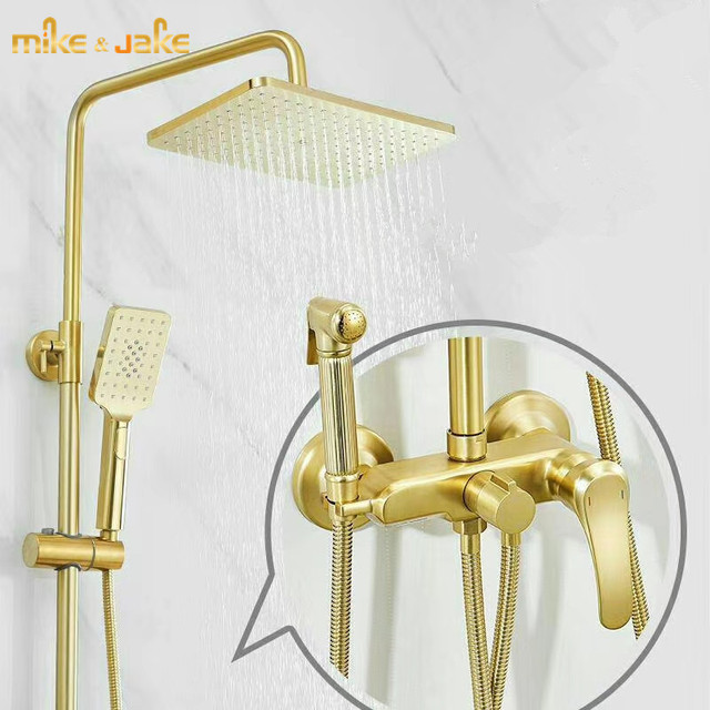 Luxury Gold brush shower set bathroom gold brush shower mixer luxury bathroom brush gold wall shower mixer bathtub hot cold tap