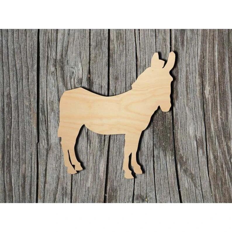 Blank Wood Shapes Many Size Options Donkey Wood Cut Shape DIY Craft Supply Unfinished Wood Donkey or Burro Laser Cut Shape