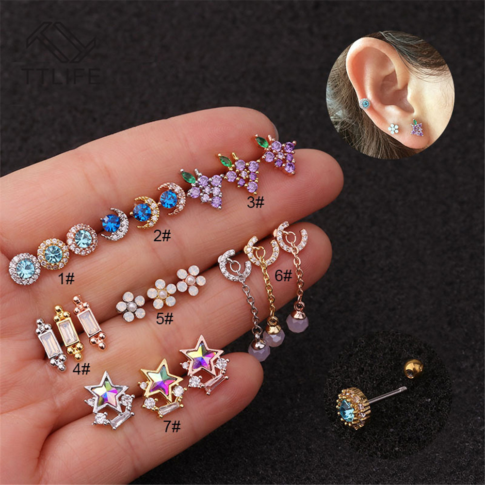 TTLIFE Stainless Steel Rainbow CZ Crystal Barbell Tragus Cartilage Helix Rook Conch Lobe Ear Piercing Earring Stud 20G