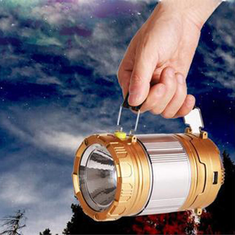 Outdoor Folding Emergency Rechargeable Lantern LED Solar Energy Camping Lights Tensile Tent Light 9599