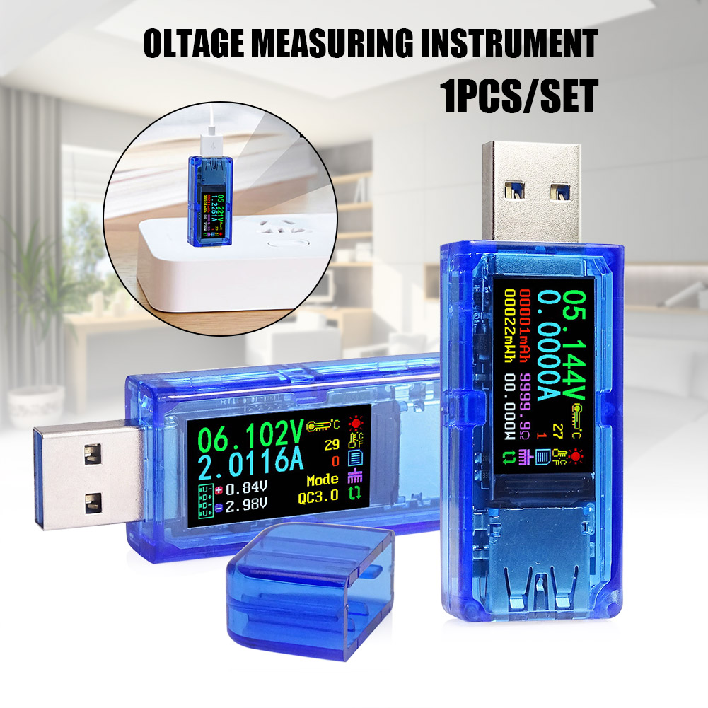AT35 Color LCD Voltmeter Ammeter USB 3.0 Voltage Current Meter Multimeter Battery Charge Power Testers FKU66