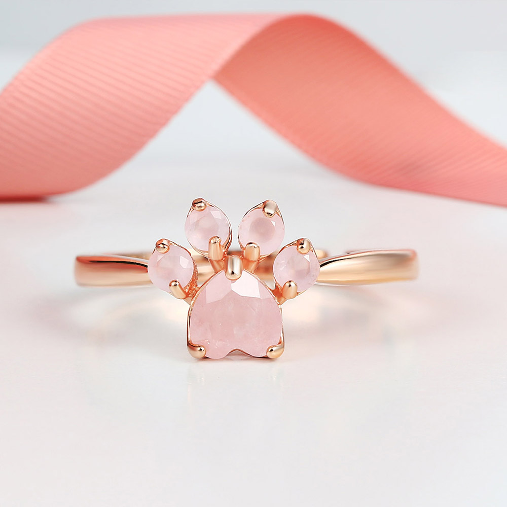 LAMOON Sterling Silver 925 Jewelry Rings For Women Pink Paw Rose Quartz Ring Rose Gold / White Gold Platd Gemstones Jewellery(China)