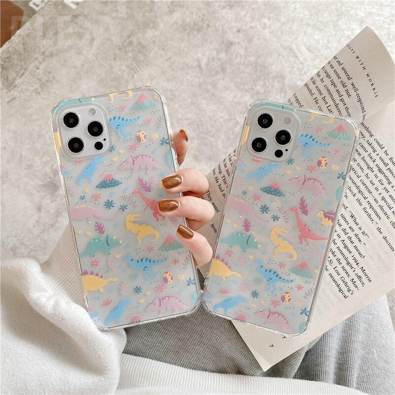 Cute Dinosaur Phone Case For Samsung S21 a21S A30 A40 A50 A70 A71 A51 S9 S10 plus S20 FE Note 20 Ultra 8 9 10 A52 A72 Soft Cover