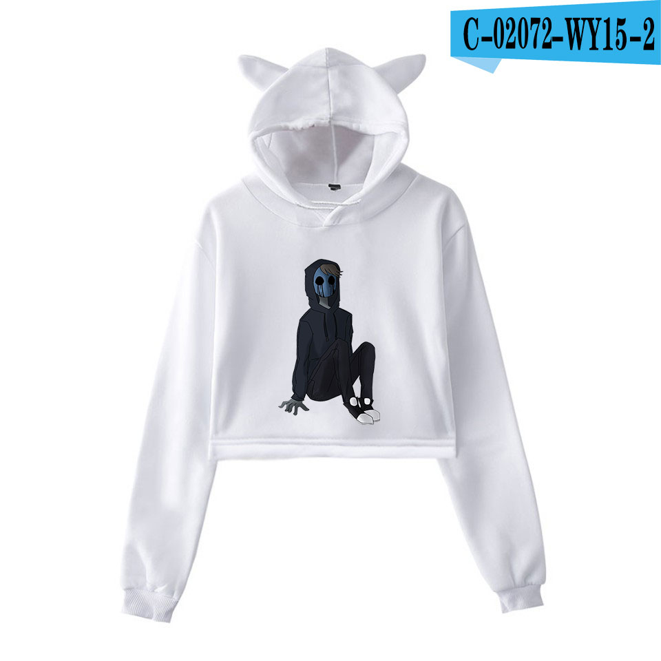 unique horror atmosphere of black humor creepypasta  print fashion trend Cat ears Top Women Hoodies Sweatshirt Sexy clothes 17