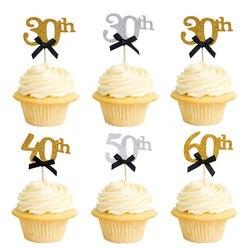 Золотистые топперы для торта, праздничные украшения для торта на день рождения, 30, 40, 50, 60 лет, черный бант, для взрослых, 10 шт.