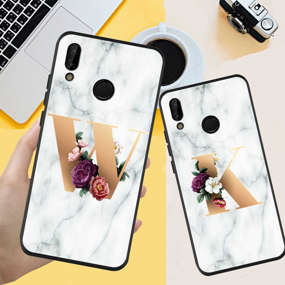 Custom name Letter Monogram Marble Soft TPU Phone Case For Huawei P20 P30 P40 Lite Pro Back cover silicone funda fashion coque