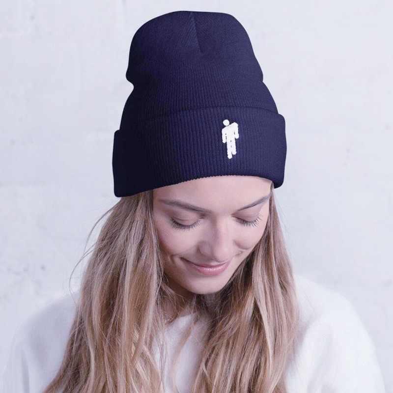 เย็บปักถักร้อย Billie Eilish Beanie หมวกนางสาวชายถักฤดูหนาวหมวกนางสาวแฟชั่นผู้ชาย Hip hop Casual Cuff beanie หมวกหมวกฤดูหนาว