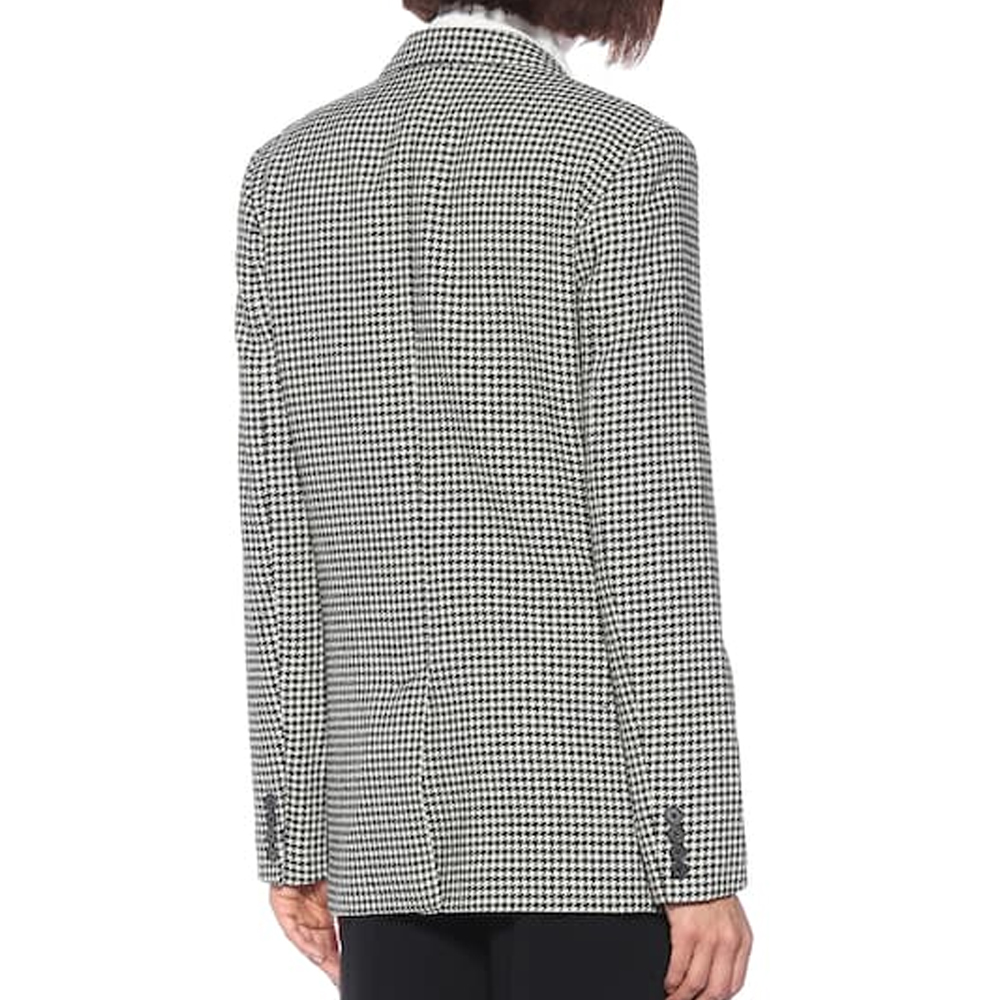 Winter Lady Houndstooth Jacket Vintage Single Breasted Office Ladies Plaid Blazer Long Sleeve Loose Houndstooth Suit Coat Jacket