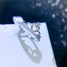 HI MAN 925 Sterling Silver Micro-Inlaid Crystal Heart Princess Crown Opening Adjustable Ring Women Exquisite Wedding Jewelry