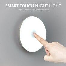 6 leds sensor de toque luz da noite lanterna base magnética quarto corredor lâmpada parede usb cobrado círculo portátil escurecimento luz