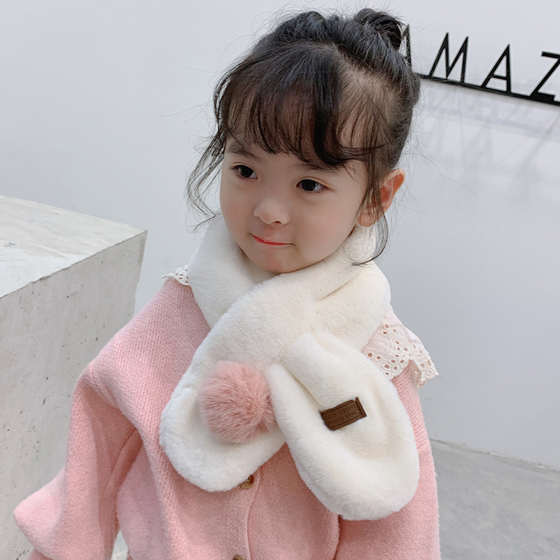 Mcmo High Grade New Children's Winter Scarf Imitation Rabbit Hair Collar  Boys And Girls  Warm Scarf Hat Glove Sets Neck Scarves