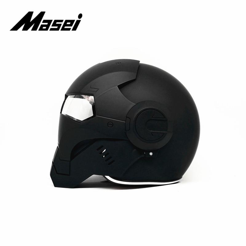 Masei IRONMAN casque moto rcycle casque demi casque visage ouvert casque moto cross accessoires voiture autocollant casco moto noir - 4