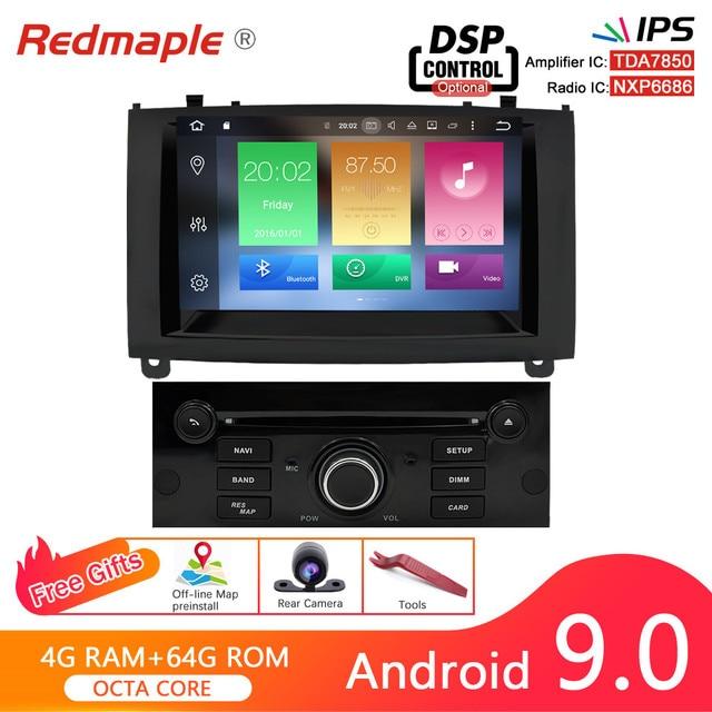 4G RAM Android 9,0 Auto DVD Player Multimedia Stereo Für Peugeot 407 2004 2005 2006 2007 2008 2009 2010 auto Radio GPS Navigation