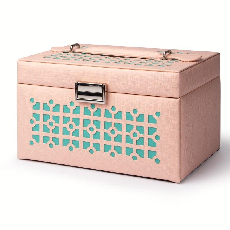 Mini boucles d'oreilles anneau boîte à bijoux avec logo en cuir avec fermeture à glissière blanc voyage Portable caja de joyas