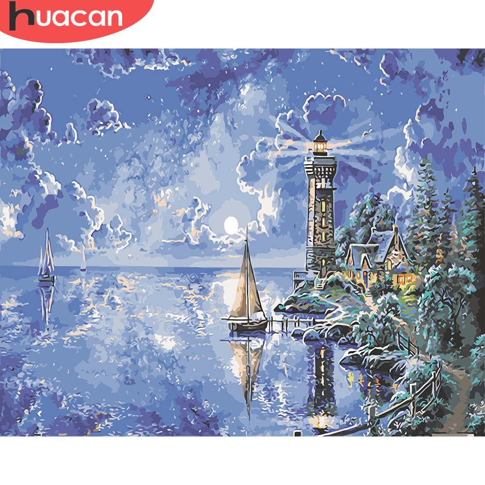 HUACAN DIY Oil Painting By Numbers Lighthouse Landscape Kits Drawing Canvas HandPainted Pictures By Numbers Scenery Home Decor