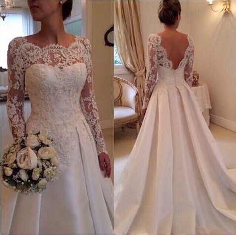 Glamorous Luxury Backless Wedding Dress 2015 Sweep Train A-line Lace Appliques Bridal Gowns