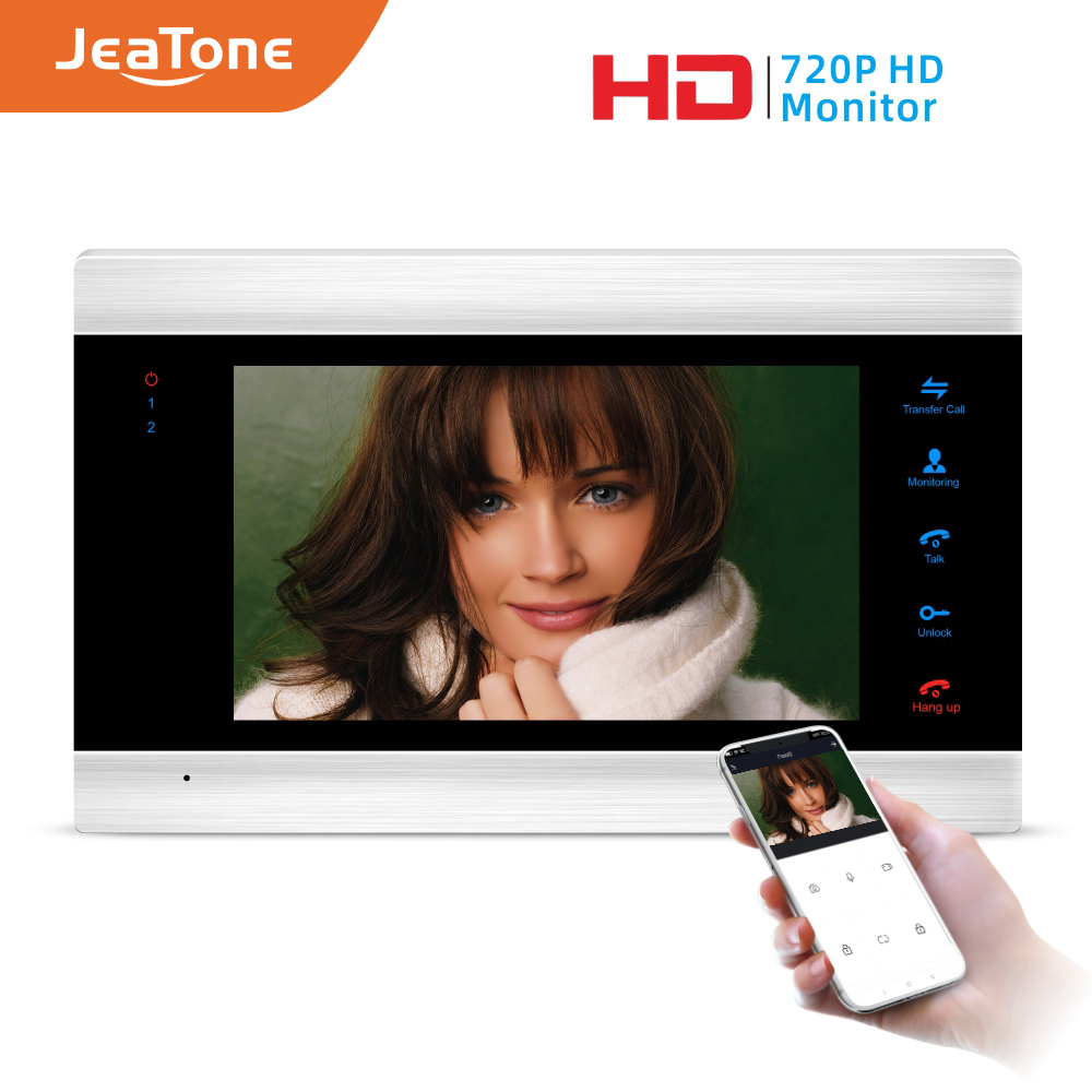 Jeatone 7'' HD WIFI Smart IP Indoor Monitor Video Door Phone Intercom System Video Recording, Support IOS/Android Remote Unlock