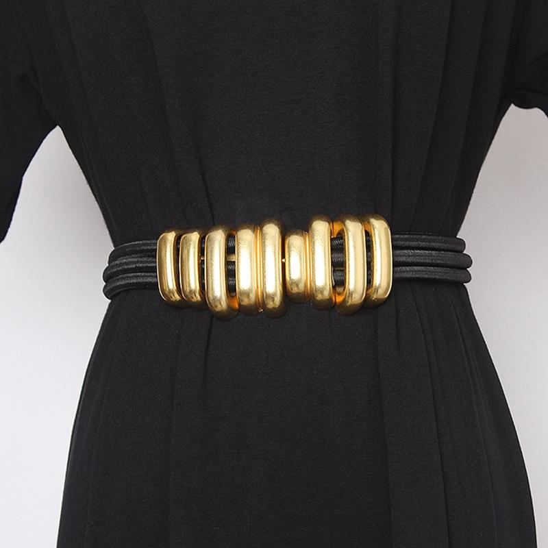 CETIRI High Quality Fashion Trendy Designer Belt Gold Metal Buckle Belts for Women Dress Waistband