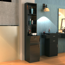 【US Warehouse】Standing 5 Compartments 1 Drawer 1 Door MDF Barber Cabinet Black beauty salon, barber shop  Drop Shipping USA