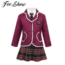 Child Kids Girls British School Uniform Student Japanese Anime Costume Suit Coat &Turn-down Collar Shirt Tie Mini Skirt Clothing(China)