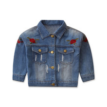 LOOZYKIT Autumn Spring Baby Girls Denim Jackets Coats Flower Embroidery Fashion Children Outwear Coat Kids Girls Casual Jacket(China)