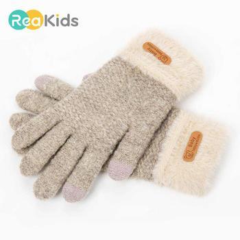 REAKIDS zimowe dziecięce rękawiczki dla dziewczynek bawełniane grube pełne palce 5-9 lat rękawiczki telefon dotykowy ciepłe dzianinowe rękawiczki dziecięce rękawiczki tanie i dobre opinie COTTON S9R0603024 Dla dzieci 20*10*5cm Stałe Unisex Kids Gloves 5-9 years