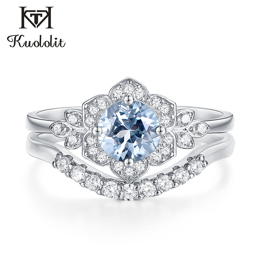 Kuololit 100% Natural Aquamarine Gemstone Ring For Women Solid 925 Sterling Silver Round Blue Engagement Bride Gift Fine Jewelry