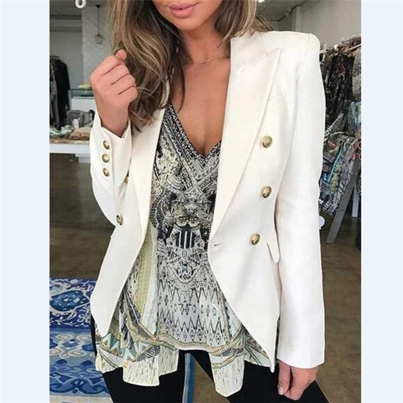 OL Casual Double Breasted Women Blazer Jackets Notched Collar Female Jackets Fashion Suits Outwear 2019 Spring Autumn Coat Tops
