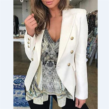 OL Casual Double Breasted Women Blazer Jackets Notched Collar Female Jackets Fas