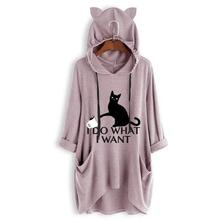New Cat Letters Print T-Shirt For Women Mid Sleeve Hooded Top Tshirt Cotton Punk Summer Funny Camiseta Wonder