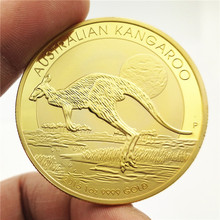 Australia Animal Challenge Coin 100 dollar Kangaroo Gold Plated Commemorative Coins Elizabeth II Silver for Collection Gift