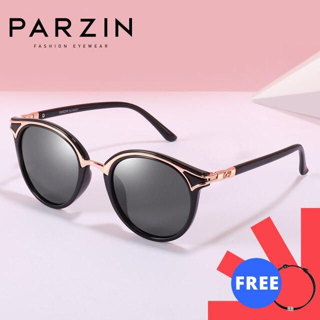 PARZIN Retro Sunglasses Women Golden Rim Fashion Elegant Ladies Round Sun Glasses Polarized Eyewear Luxury Designer GafaDe Sol