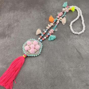 Boho Shell Pompom Necklace Jewelry Necklaces f02846ee759da375bf7e2a: Pink