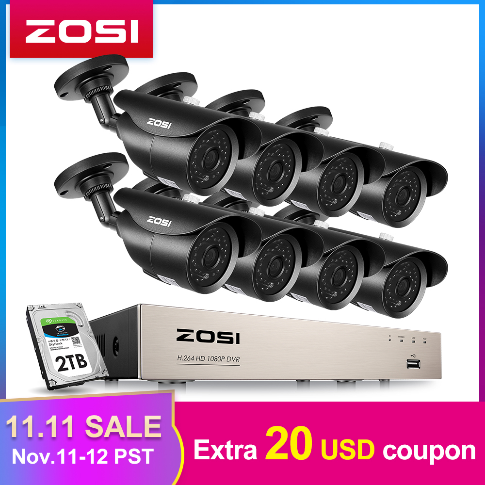 ZOSI 4//8CH1080P DVR Night Vision Outdoor CCTV Security Camera System 0-2TB HDD
