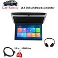 Автомобильный семейный 15 6-дюймовый Android 8 1 автомобильный монитор с потолочным креплением на крышу HD 1080P видео IPS экран WIFI/HDMI/USB/SD/FM/Bluetooth/динам...