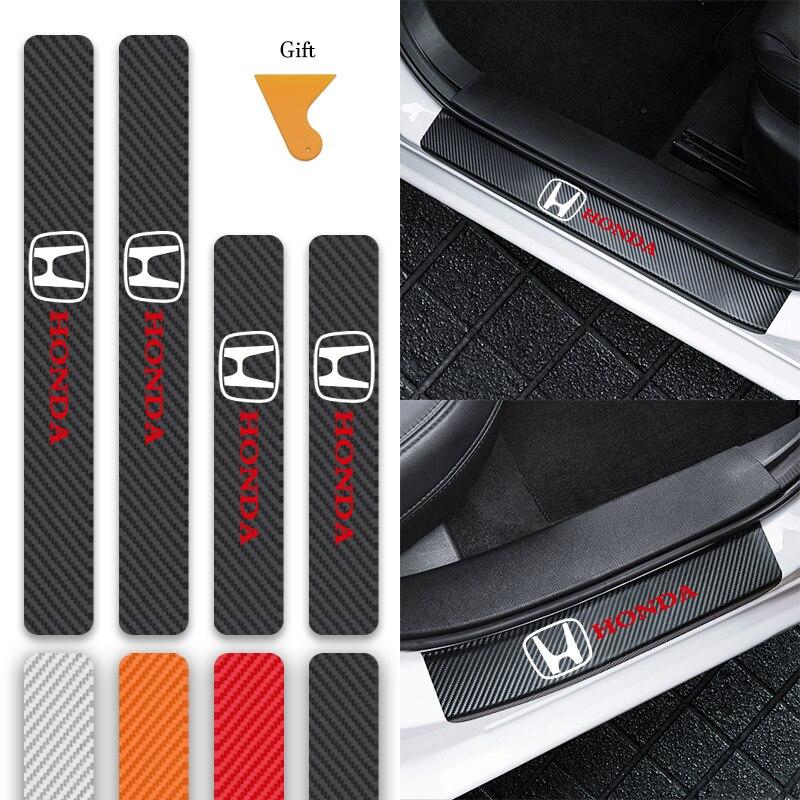 4 шт. автомобиль 3D из углеродного волокна с защитой от царапин Накладка двери педаль подоконника наклейки для Honda CR-V Accord 7 Mugen INSPIRE подходит DOHC ...