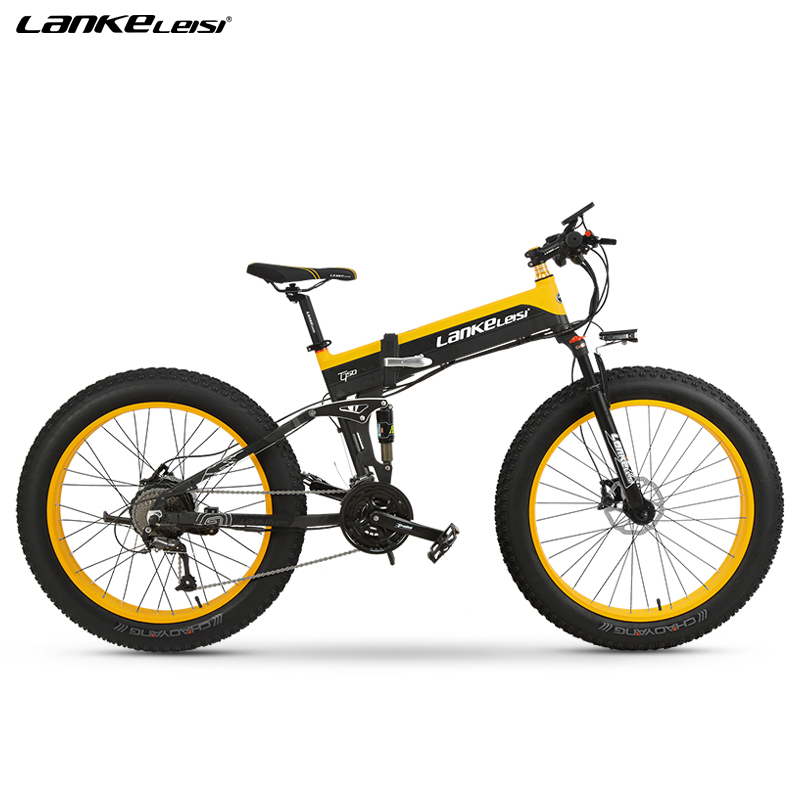 "EU Quality Level LANKELEISI 26x4.0"" 1000W Fat Tire Folding Electric Bicycle 48V 1000W 13AH Panasoni'c Lithium Battery 3"