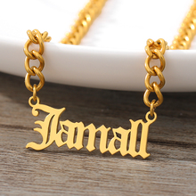 Custom Name Choker Necklace For Women Men Gothic Stainless Steel Old English Gold Chain Nameplate Boho Jewelry