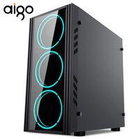 Aigo PC Gamer Fall Schrank ATX Turm Mit 120mm RGB Fan USB Typ-C Port Ausgeglichenes Glas Vordere I/O Computer Fall PC Gaming Fall