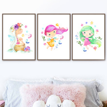 Watercolor Girl Flower Crown Butterfly Wall Art Canvas Painting Nordic Posters And Prints Pictures For Baby Kids Room Decor