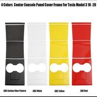 Para tesla modelo 3 2018 2020 centro suporte de copo console painel capa quadro guarnição 4 cores adesivos automotivos internos     -
