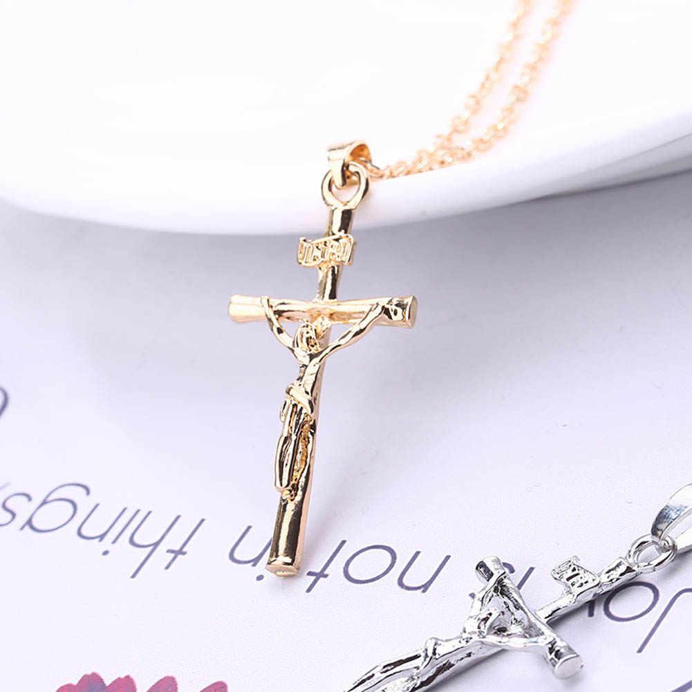 Collar de cruz de Jesús para mujer/hombre, joyería de moda de plata/el Color dorado INRI crucifijo Jesús colgante para hombres