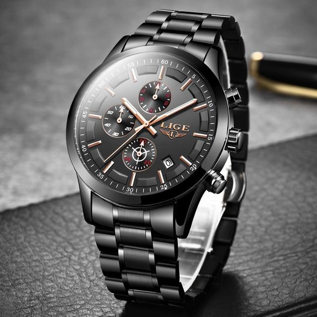Lige relógio masculino de aço inoxidável à prova dwaterproof água relógios relógio de quartzo relógio de pulso masculino