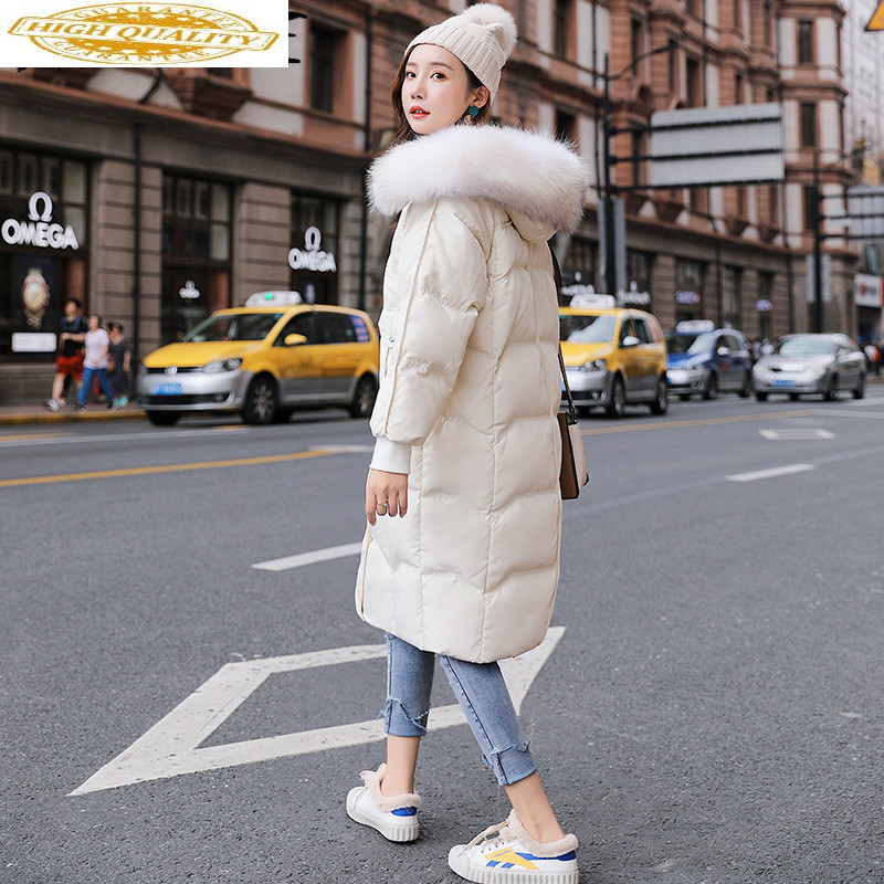 Winter White Duck Down Jacket Long Winter Coat Women Big Fur Collar Puffer Jacket Overcoat Piumino Donna 202022 YY1525