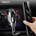 ROCK 10 Вт Qi Беспроводное Автомобильное зарядное устройство  подставка для iPhone Samsung Xiaomi  интеллектуальная инфракрасная быстрая Беспроводная з...