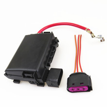 Fhawkeyeq Auto Batterij Zekeringkast Montage + Plug Kabel Draad Voor Vw Beetle Bora Golf MK4 Jetta MK4 Seat Leon 1J0937617D 1J0 937 773